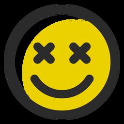 X eyes colored stroke emoticon