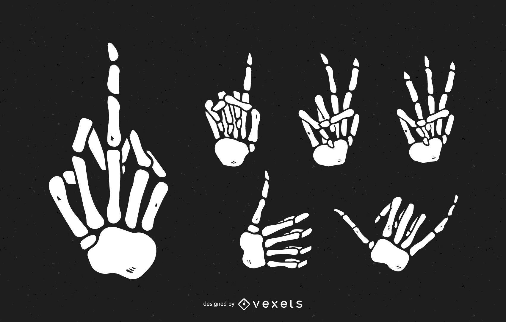 Conjunto de mãos de esqueleto