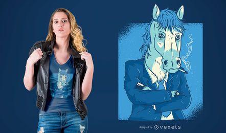 Cavalo, em, terno negócio, t-shirt, desenho