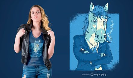 Horse in Business Suit T-shirt Design