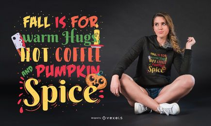 Projeto do t-shirt das citações do Dia das Bruxas da queda da especiaria da abóbora