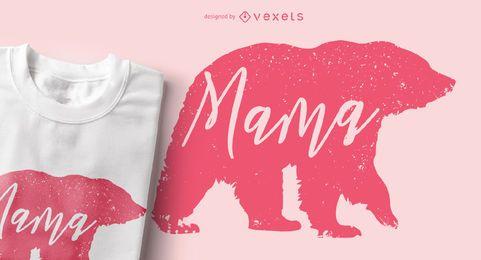 Diseño de camiseta de mamá oso animal silueta