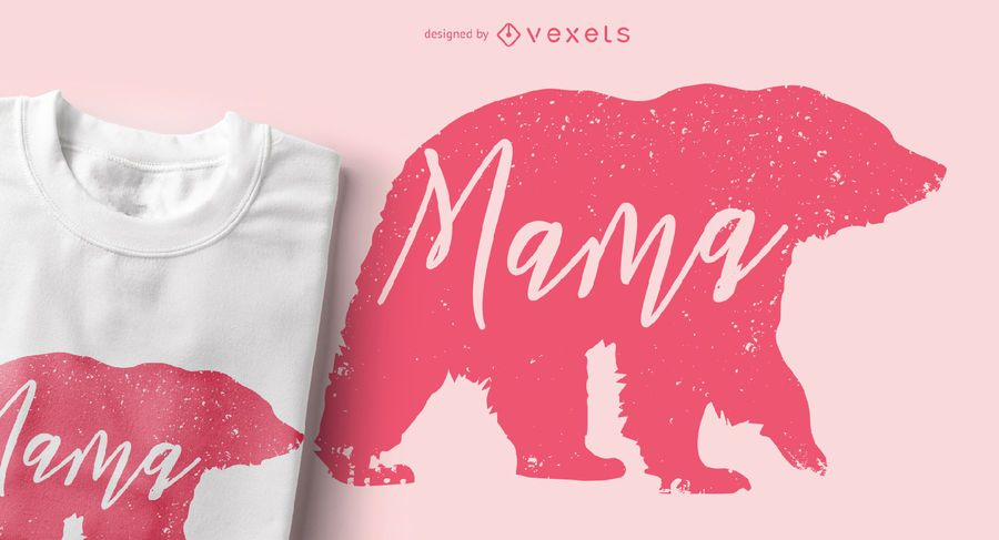 Mama Bear Animal Silhouette T-shirt Design