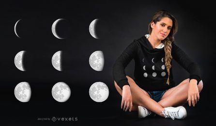 Projeto do t-shirt do espaço das fases da lua