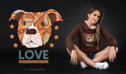 Projeto do t-shirt do cão do amor da cabeça do pitbull