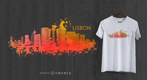 Projeto do t-shirt da skyline da aguarela de Lisboa