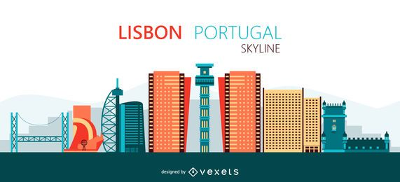 Lisbon skyline illustration