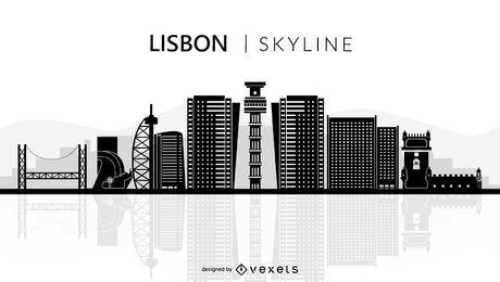 Lissabon Skyline Silhouette