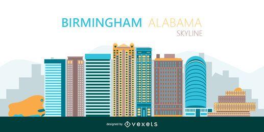 Silueta de horizonte colorido de Birmingham