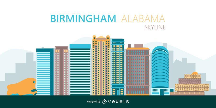 Birmingham Bunte Skyline Silhouette