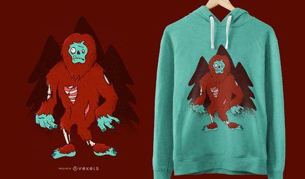 Projeto engraçado do t-shirt de Bigfoot do zombi