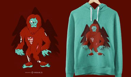 Zombie Bigfoot Funny T-shirt Design