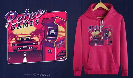 Design retro do t-shirt da arcada do jogo