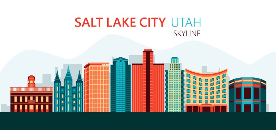 Ilustración del horizonte de Salt Lake City