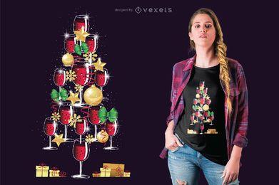 Diseño de camiseta vino árbol de navidad.