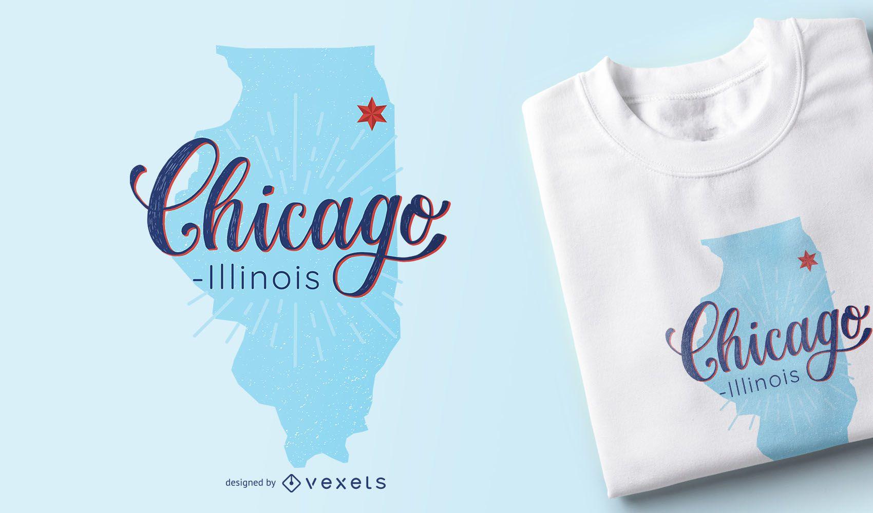 Design de camisetas com mapa de Chicago Illinois