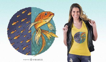 Diseño de camiseta de pez dorado independiente