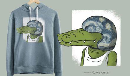 Crocodilo, com, capacete, engraçado, t-shirt, desenho