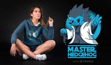 Diseño de camiseta Master Hedgehog Funny Parody