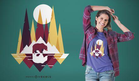 Diseño de camiseta geométrica de oso