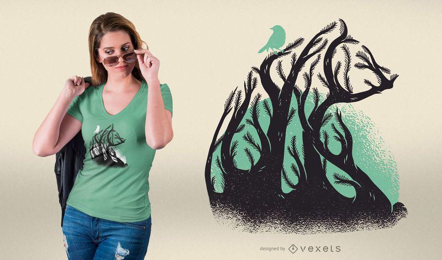 Design do t-shirt do urso da floresta