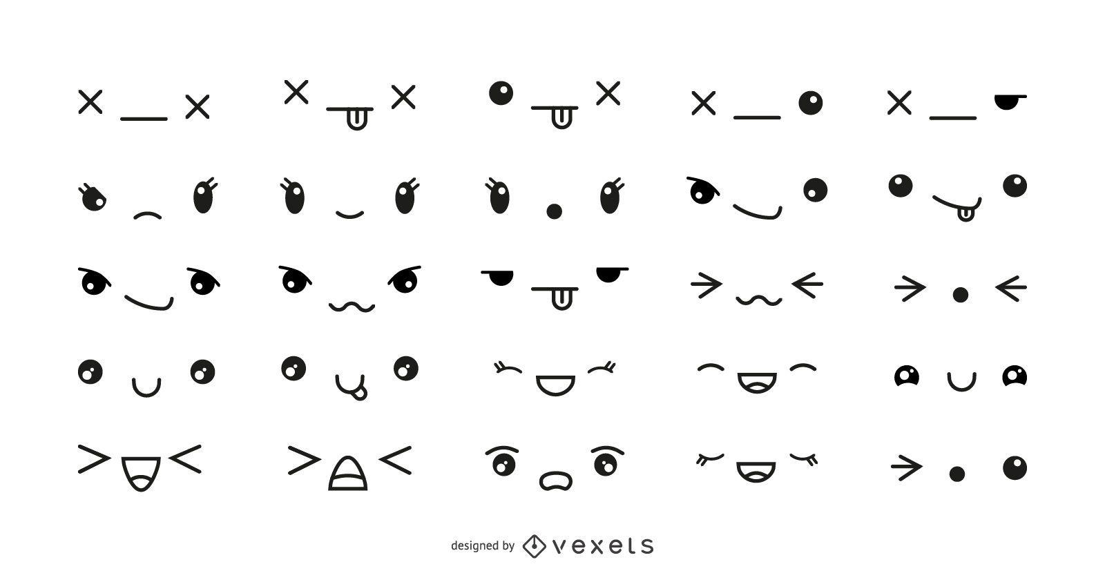 Conjunto de emoticonos kawaii