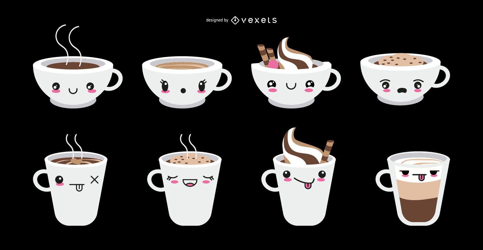Conjunto de copos de café emoticon kawaii