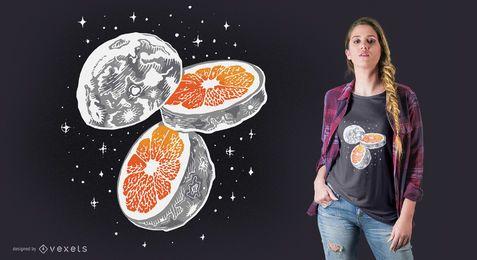 Diseño de camiseta naranja luna