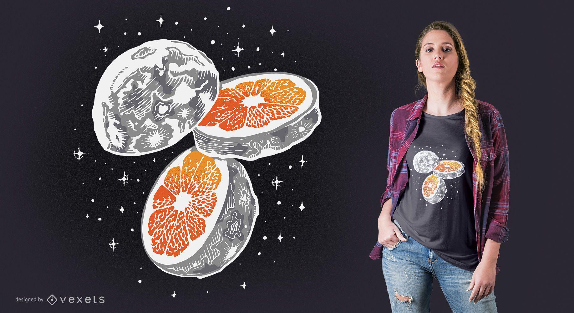 Moon orange t-shirt design