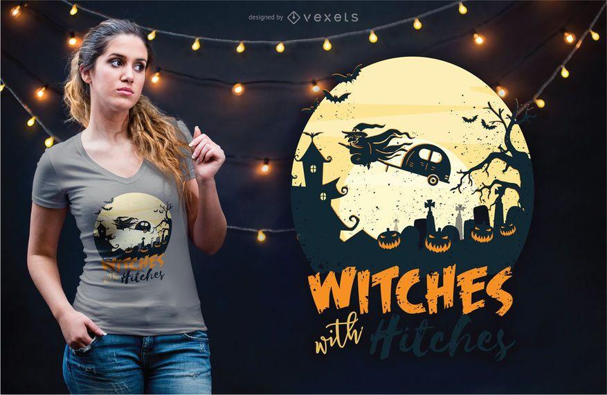 Diseño de camiseta brujas con enganches.