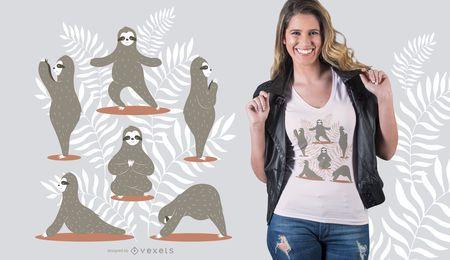 Diseño de camiseta de yoga Sloth