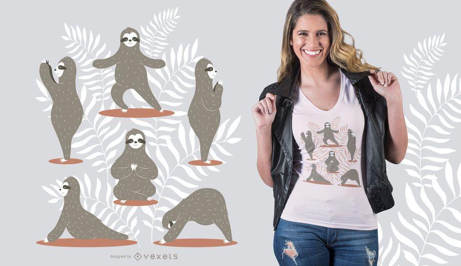 Diseño de camiseta de yoga perezoso