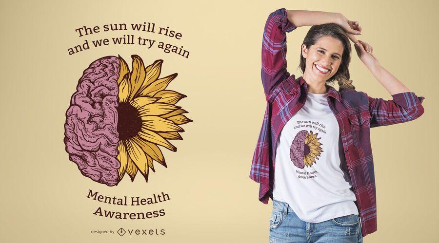 Diseño de la camiseta de la conciencia de la salud mental