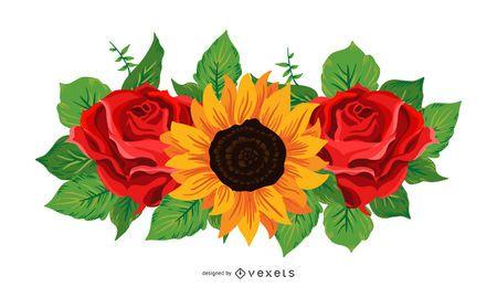 Ilustración de girasol y rosas