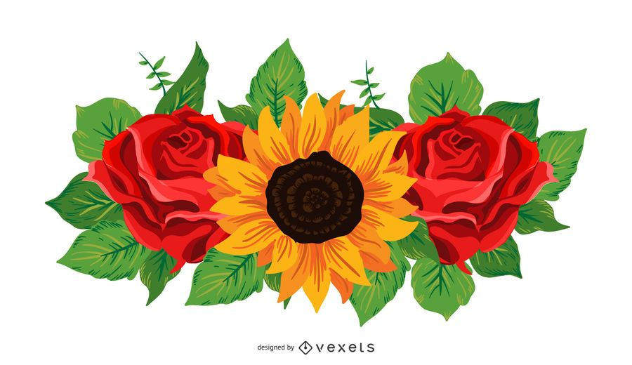 Sunflower and roses illustration