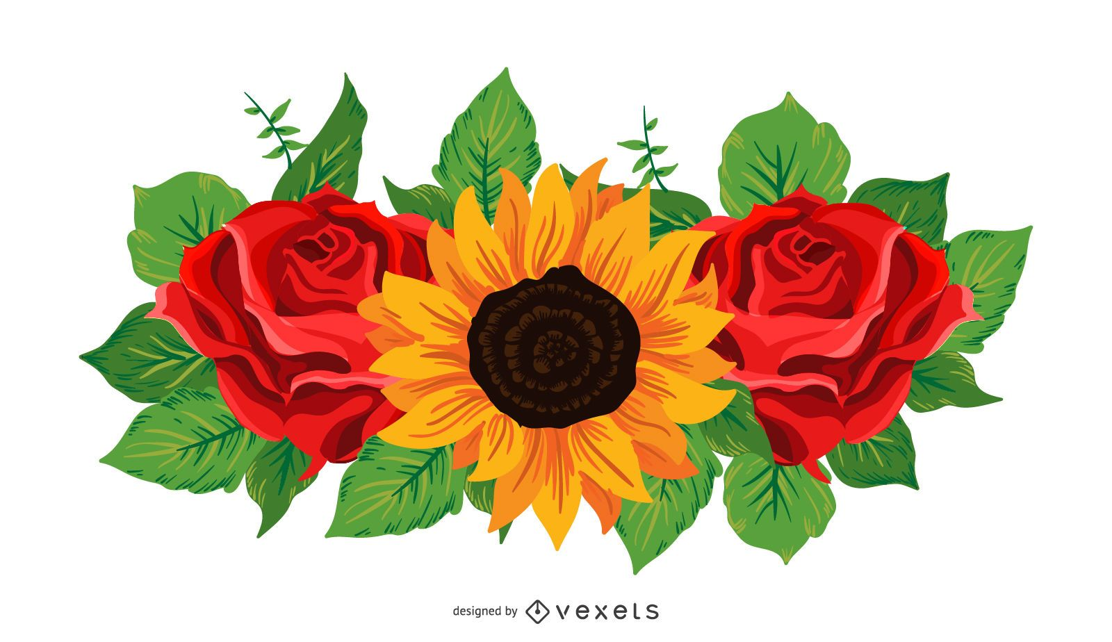 Sunflower And Roses Illustration - Vector Download