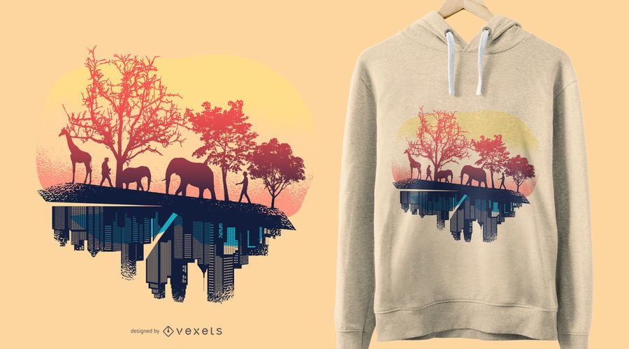 Nature and city t-shirt design