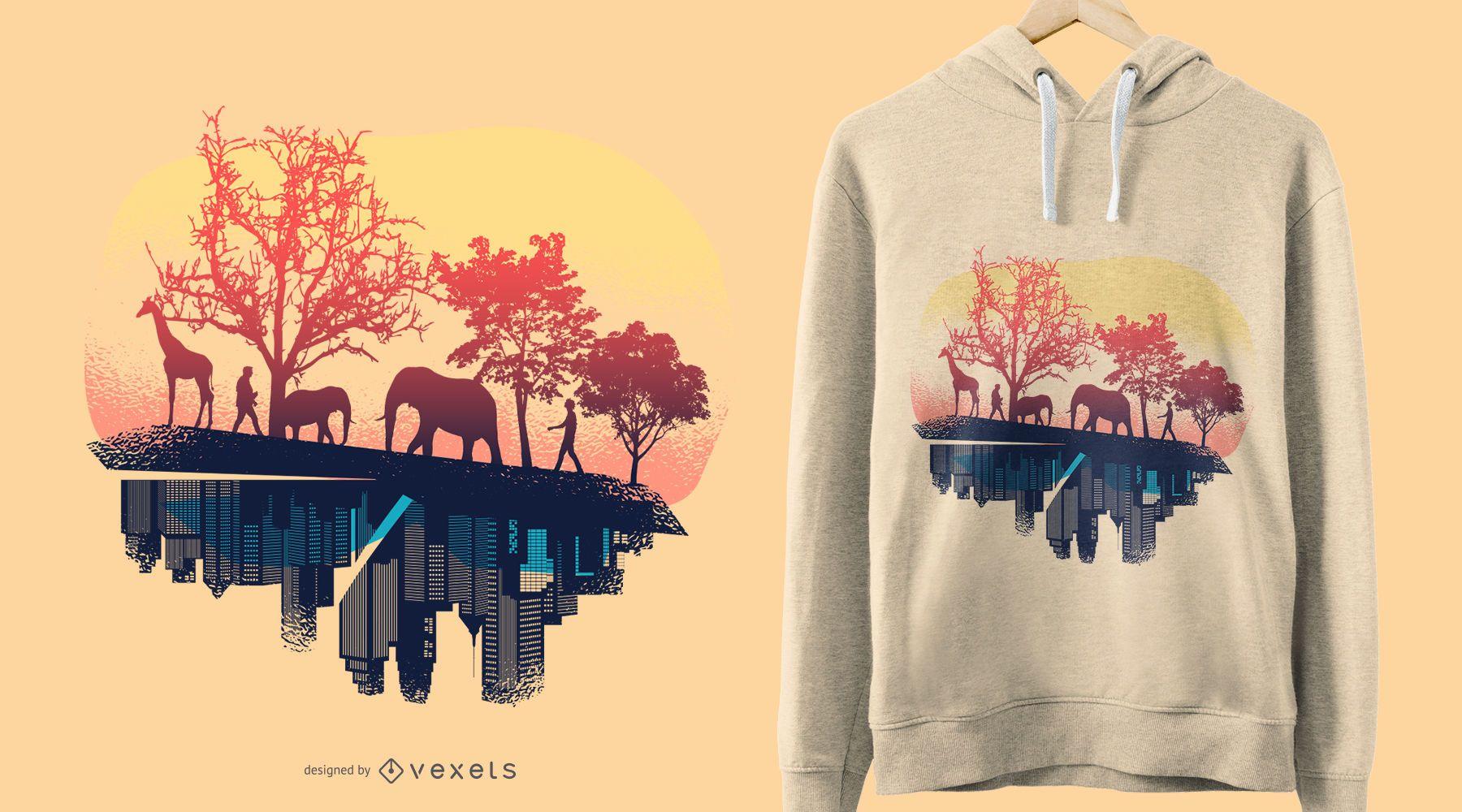 Diseño de camiseta naturaleza y ciudad.