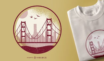 Diseño de camiseta Golden Gate.