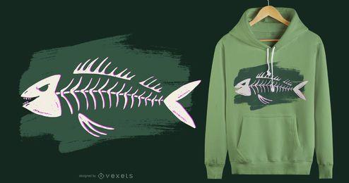 Desenho de t-shirt de esqueleto de peixe