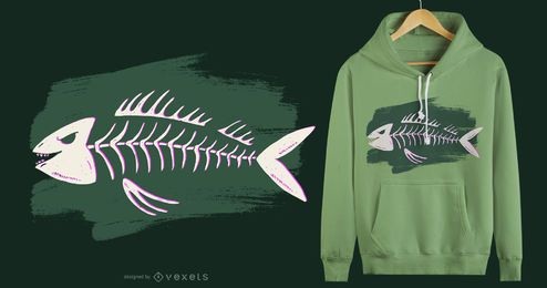 Diseño de camiseta de esqueleto de pez.