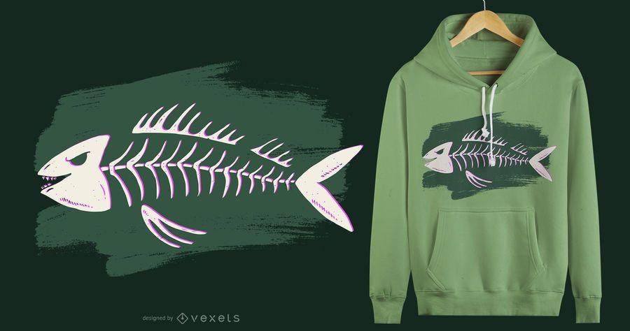 Design de t-shirt de esqueleto de peixe