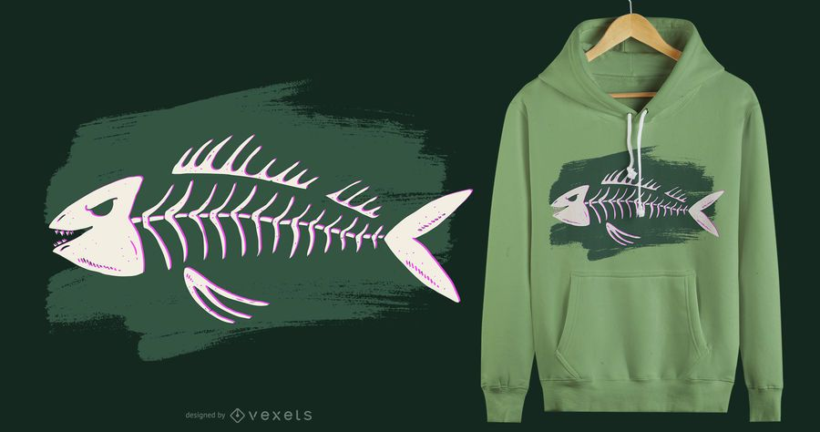 Fish skeleton t-shirt design