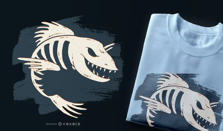 Diseño de camiseta de hueso de pescado