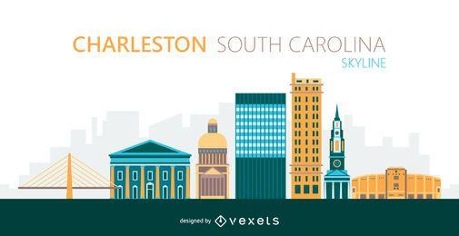 Ilustración de horizonte de la ciudad de Charleston