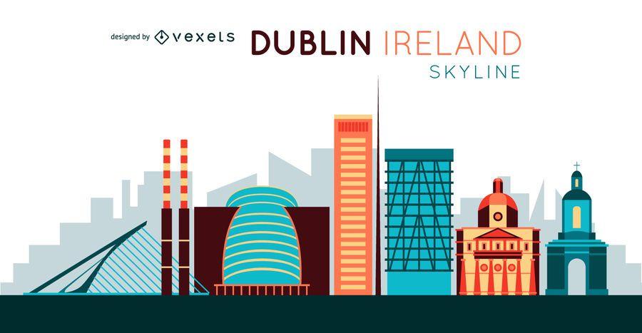 Ilustração do horizonte da cidade de Dublin