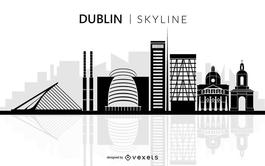 Dublin city skyline silhouette