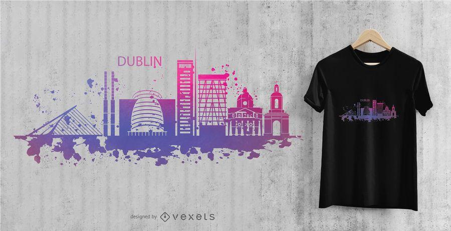 Aguarela do horizonte da cidade de Dublin