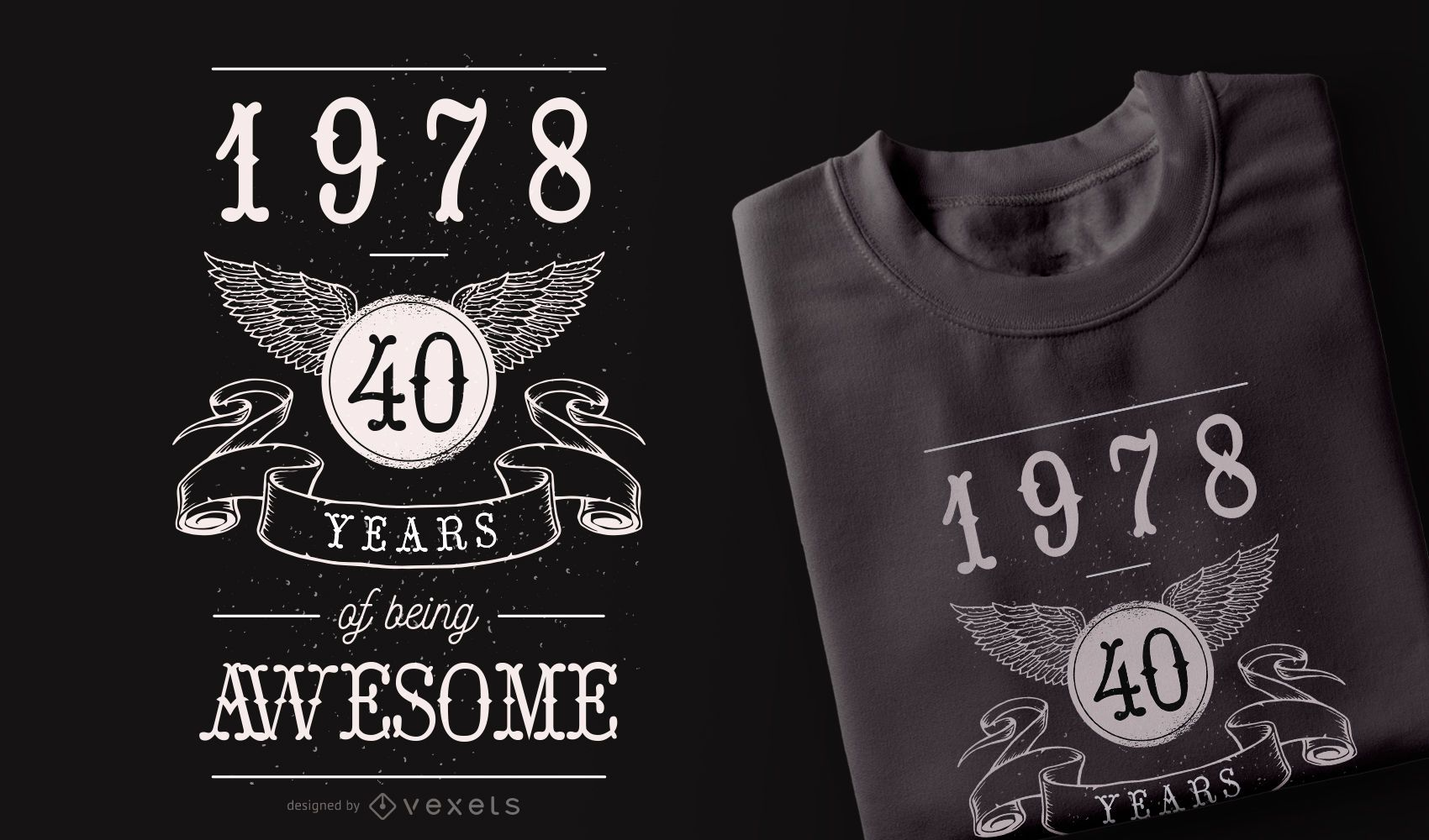 40 Years Awesome t-shirt design