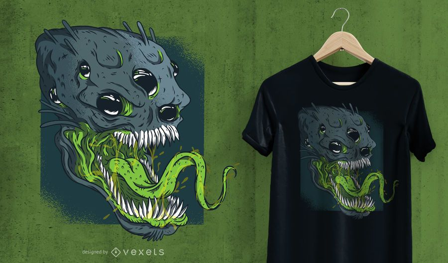 Design de t-shirt alienígena aterrorizante